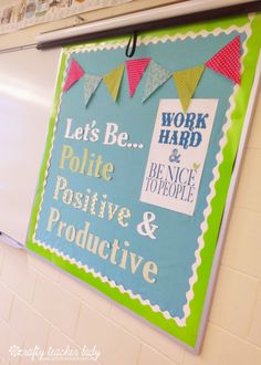 Fabric background instead of paper, more durable and less expensive. Classroom Tour: Decorations