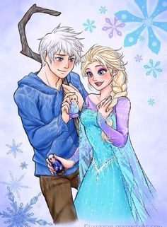 For My Snowflake by Fuyukichi on deviantART / Rise of the Guardians' Jack Frost and Frozen's Elsa Jack Frost Und Elsa, Jack Y Elsa, Arte Disney, Disney Fan Art, Disney Love, Disney Girls, Hans Frozen, Elsa Frozen, Frozen Anime