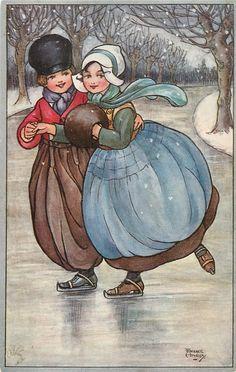 Dutch Children Skating  (postcard, art by Florence Hardy) <> (art, illustrations of children)