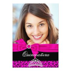 Quinceanera 15th Hot Pink Black Leopard Photo Invites