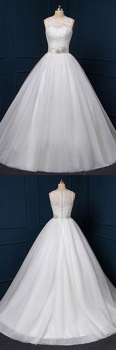 Gorgeous Wedding Dresses,Ball Gown Wedding Dresses,White Bridal Dresses,Tulle Beading Bridal Gowns