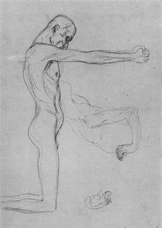 Drawings 1 / Studie zum knienden Männerakt der 'Schwachen Menschheit' im Beethovenfries 1902. Gustav Klimt