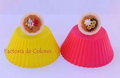 Anillos Miniatura Arcilla polimerica Waffle Nata&Fresas Waffle Choco&Banana Factoria de Colores