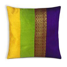 Green Purple Gold Silk Pillow - Handmade Pure Silk Pillow - Decorative Pillow Cover - Living Room Decor - Lumbar Cushion Cover - Gift 4 Her Diy Cushion Covers, Cushion Cover Designs, Pillow Cover Design, Decorative Pillow Covers, Diy Pillows, Throw Pillows, Cushion Embroidery, Indian Pillows, Patchwork Cushion