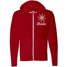 Red Hoodies for Bride with Snowflakes #red #hoodies #christmas #christmasbride #snowflakes