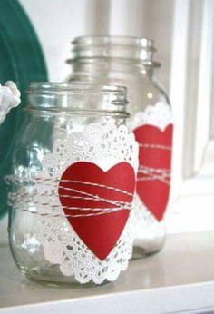 Heart mason jars
