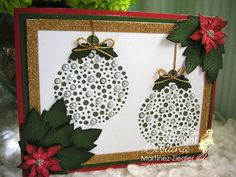 """by Bibiana. Christmas ornaments using """"Poppystamps"""" card featured at the Spanish blog for Memory Box. For more cards visit my blog: http://stampingwithbibiana.blogspot.com/"""