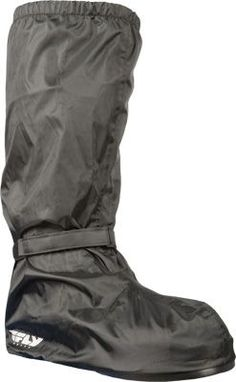 Fly Rain: Heavy duty waterproof nylon keeps your boots and lower leg dry.  Helps block the wind.  Half sole design allows your shoes heel to grip the peg in rainy conditions.  Reflective areas to add visibility.  Velcro back allows covers to be put on quickly.