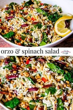 Orzo and Spinach Salad is a delicious summer salad recipe. Loaded with feta cheese roasted pine nuts flavorful spices kalamata olives and more - this is so so good! Orzo Salad Recipes, Summer Salad Recipes, Summer Salads, Spinach Orzo Salad, Meat Recipes, Vegetarian Recipes, Healthy Recipes, Recipies, Orzo Salat