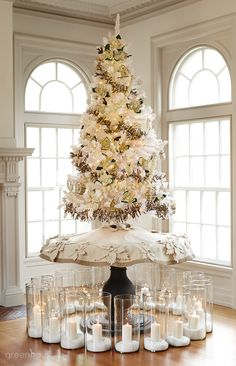 This flocked tree is also pre-lit so no need to string multiple strands of lights.
