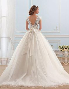 Lace Tulle Princess Tube Beading Wedding Gown - My Wedding Ideas