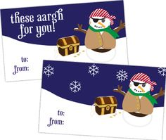 pirate winter free printables and other stuff too - student Xmas gift tag - check!