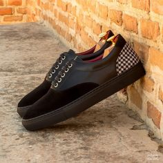 Custom Made Top Sider in Black Box Calf and Luxe Suede with Houndstooth Casual Shoes, Men Casual, Custom Design Shoes, Black Box, Classic Man, Top Sider, Tory Burch Flats, Houndstooth, Calf Leather