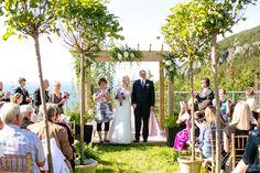 Stunning backyard wedding# green# purple# arbour# ferns# wedding isle decor#
