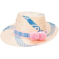 Yosuzi Marea Oceanic pom pom hat (19,400 PHP) ❤ liked on Polyvore featuring accessories, hats, pompom hat, straw hats, blue straw hat, pink hats and pink straw hat