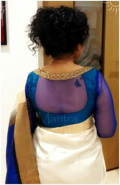 Modern saree blouse design is much inspired from shirts and top which has made saree more comfortable and trendy. Have a small look at below Netted Blouse Designs, Saree Blouse Neck Designs, Simple Blouse Designs, Stylish Blouse Design, Net Blouses, Designer Blouse Patterns, Design Patterns, Modern Saree, Sarees