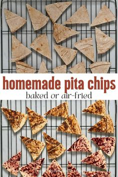 How to make crisp and crunchy homemade pita chips (either baked or in an air fryer) in under 10 minutes. This crispy toasted pita is perfect as a snack and for serving with dips (like hummus, tzatziki, or salsa). Plus, there are tons of ways to season them with your favorite herbs and seasonings! How To Make Crisps, Homemade Pita Chips, Tzatziki, Hummus, Salsa, Dips, Appetizers, Herbs, Snacks