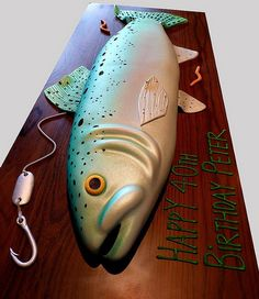 Trout Birthday Cake , my first airbrushed cake