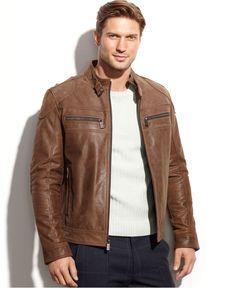 Michael Michael Kors Clear Creek Patched Leather Moto - Coats & Jackets - Men - Macy's