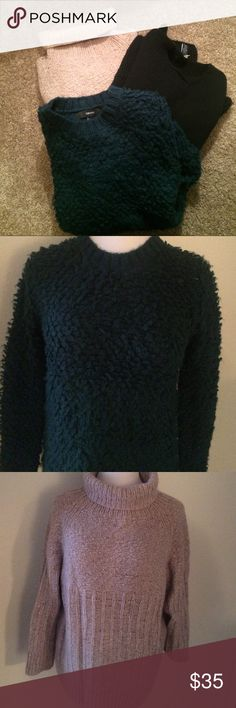 Sweater Bundle Gap, Forever 21 Black Gap Sweater is a medium and is wool and acrylic.  Green sweater is Forever 21 and a generous small-never worn.  Turtleneck has no interior tags, has some angora in it, very soft, and sizes about a medium-is a high/low. GAP Sweaters