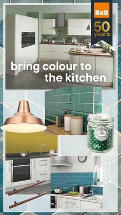 A pop of colour really adds character to your kitchen and is a great way of making it unique to you. Coloured tiles, utensils or finishing touches can really make a big difference. Ikea Kitchen, Kitchen Cupboards, Kitchen Decor, Kitchen Design, Kitchen Colors, Kitchen Appliances, Lowes Home, Room Doors, Kitchen Trends