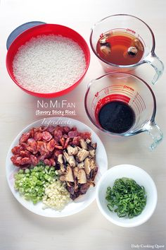 No Mi Fan - Savory Sticky Rice - - Learn how to cook simple three ingredients no mi fan (Chinese savory sticky rice) in a rice cooker, essentially an easy version of bak cang, or lo mai gai. Sticky Rice Recipes, Rice Cooker Recipes, Cooking Recipes, Chinese Vegetables, Mixed Vegetables, Chinese Sticky Rice, Rice Ingredients, Asian Recipes, Arabic Recipes