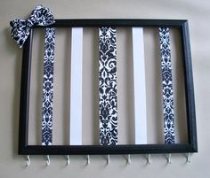 11x14 Picture frame hair bow holder and headband organizer, hair accessories organizer, hair clip holder. W/O the bow in green, navy and maybe hot pink