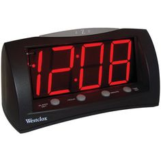 The Westclox Oversized Snooze Alarm Clock features large, easy to read inch red LED numbers on a slick LED screen design display. Travel Alarm Clock, Radio Alarm Clock, Digital Alarm Clock, Alarm Set, Clocks For Sale, Lamps For Sale, Tabletop Clocks, Wood Clocks, Clocks By Coldplay