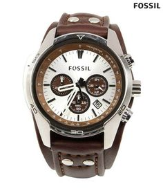 Brown Leather Watch, White Leather, Fossil Watches For Men, Mens Watches Leather, Watch Sale, Watch Brands, Chronograph, Stuff To Buy, Men's Watches