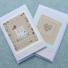 Set of three hand-stitched little bird cards Three Little Birds, Bird Cards, Garden Gates, Hand Stitching, Card Making, Greeting Cards, Embroidery Ideas, Heart, Frame