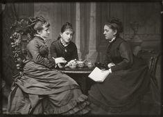 Adelaide Fanny Louise Barber (née Bassano); Camilla Teresa Serjeant (née Bassano); Miss Barnett, by Alexander Bassano circa 1874