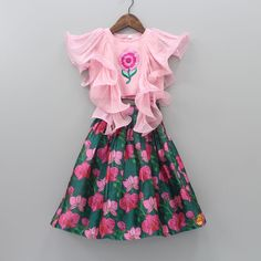 Embroidery Patches, Floral Embroidery, 6 Years, No Frills, Lehenga, Pink And Green, Designer Dresses, Floral Prints, Gowns
