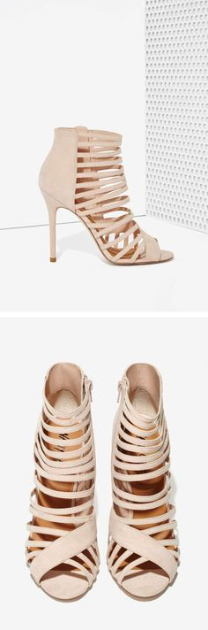 Nasty Gal Get a Grip Suede Peep-Toe Heel in Blush