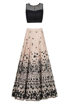 Peach and black floral thread and sequins embroidered lehenga set available only at Pernia's Pop Up Shop.
