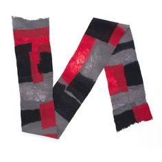 Wool Fusion Unisex Scarf in Red/Black/Gray