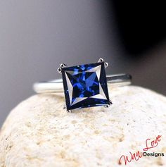 Blue Sapphire Solitaire Square Princess 3.80ct by WanLoveDesigns, $199.00