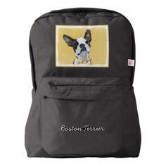 #Boston Terrier American Apparel Backpack - #boston #terrier #puppy #dog #dogs #pet #pets #cute #bostonterrier
