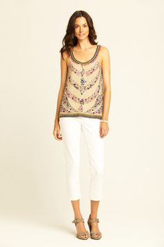 Calypso's apparel is beyond beautiful and always makes me think of being on an island where the drinks are a-penty and the cash flow doesn't cease.  This silk Ethnic beaded tank is clearly on my win-the-lottery wish list.