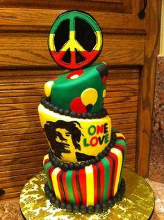 A Bob Marley Rasta cake. Rasta Cake, Bob Marley Cakes, Rasta Wedding, Rasta Party, Jamaican Party, Creative Cakes, Cake Designs, Amazing Cakes, Birthday Parties