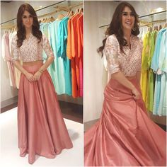 For a store launch earlier today, Lauren picked an Anita Dongre look that included a printed crop top and a salmon pink lehenga skirt. Pakistani Dresses, Indian Dresses, Indian Outfits, Indian Clothes, Anita Dongre, Indian Attire, Indian Wear, Bride Indian, Modern Saree