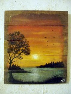 pallet wood painting,landscape ..lake sunset acrylic on reclaimed pallet wood by Nashana Webb by FindleysDreamTree on Etsy
