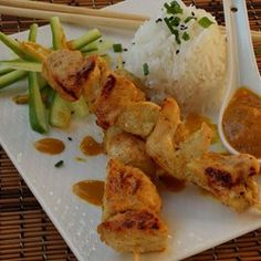 Chicken Satay With Peanut Sauce Recipe - All Recipes Sauce Recipes, Chicken Recipes, Cooking Recipes, Skewer Recipes, Turkey Recipes, Grilling Recipes, Cooking Ideas, Food Dishes, Main Dishes