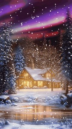 ~ WINTER SNOW GIF by hazel Christmas Scenes, Noel Christmas, Christmas Images, Winter Christmas, Christmas Lights, Vintage Christmas, Christmas Glitter, Animated Christmas Pictures, Christmas Morning