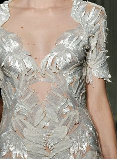 When sequins transform into feathers...  Marchesa.