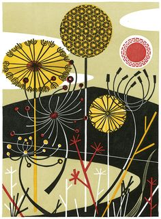 Loch with Dandelions - linocut by Angie Lewin - printmaker