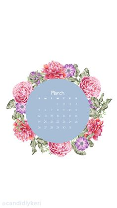 Flower Crown pink flower March calendar 2017 wallpaper you can download for free on the blog! For any device; mobile, desktop, iphone, android!