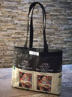 A small bag of organic Caffè Crema coffee bags. Reusable Tote Bags, Etsy, Coffee, Dime Bags