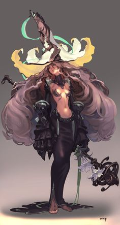 Feiticeira de cabelos espetaculosos, poderosas mãos, chapéu chamativo e vestido que parece derreter no chão