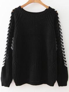 Jersey manga raglán con cordón - negro
