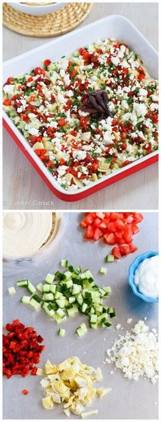 Healthy Mediterranean 7-Layer Dip Recipe...49 calories and 2 Weight Watcher PP | #vegetarian #appetizer #cleaneating